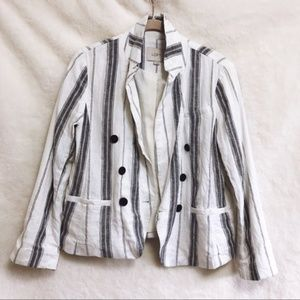 LOFT Grey & White Striped Button Blazer